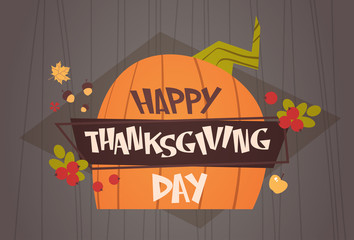 Happy Thanksgiving Day Autumn Traditional Harvest Holiday Greeting Card Flat Vector Illustration