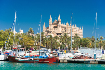View of Palma de Mallorca with Cathedral La Seu and the fishing port - 9325
