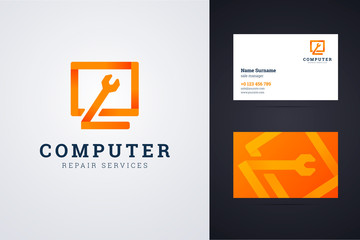 Computer repair service logo and business card template