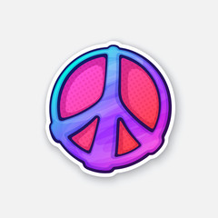 Vector illustration.  Sticker of hippies colorful symbol of peace. Sticker in cartoon style with contour. Sign of pacifism and freedom. Isolated on white background
