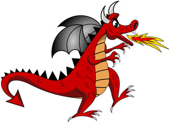 Cartoon red dragon exhaling fire isolated