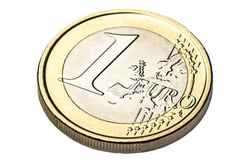 Angle view of one euro coin isolated