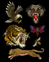 Tiger, bee, butterfly, eagle, leopard and panther embroidery patches for textile design.