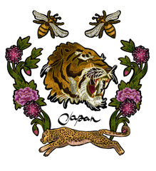 Tiger, bee, leopard and peony flowers embroidery patches for textile design.