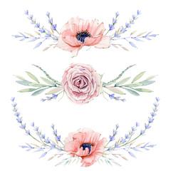 Watercolor vintage floral set.