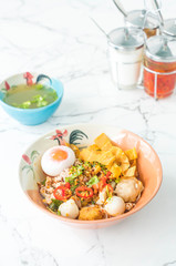 Thai spicy noodle with fish balls