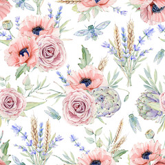Watercolor seamless pattern with flowers.