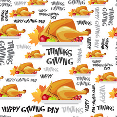 Happy Thanksgiving Day Seamless Pattern Autumn Traditional Holiday Greeting Card With Roasted Turkey Flat Vector Illustration