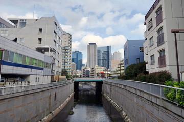 神田川と新宿の街並み