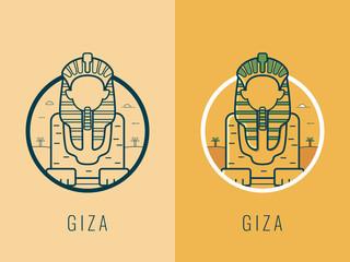 World landmarks. Egypt. Travel and tourism background. Line art style. Vector