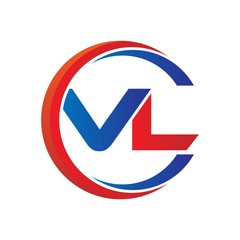 vl logo vector modern initial swoosh circle blue and red