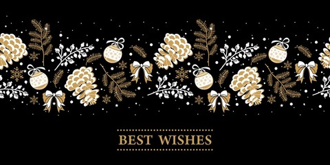Christmas banner with the words and pictures. Perfect for any advertising. Vector illustration.