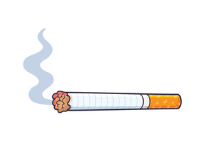 Cigarette with smoke isolated.