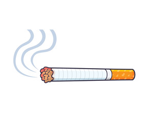 Cigarette with smoke vector isolated.