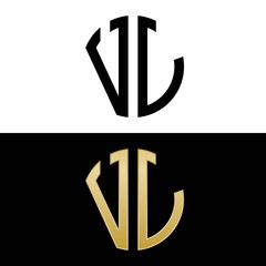 vl initial logo circle shape vector black and gold