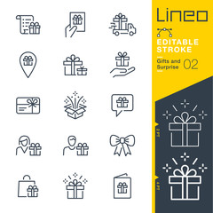 Lineo Editable Stroke - Gifts and Surprise line icons