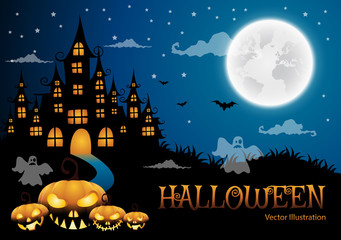 haunted house and full moon with pumpkin and ghost,Halloween night background.Vector illustration.