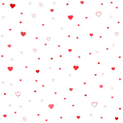 Drawn seamless scribble, doodle hearts shapes pattern.