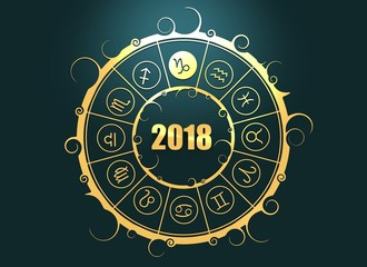 Astrological symbols in the circle. Capricorn sign. New Year and Christmas celebration card template. Zodiac circle with 2018 new year number. 3D rendering