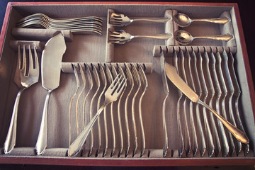 Beautiful vintage silver fish cutlery set for 12 people completed with server flatware