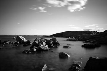 Empty sea shore large rocks Suomenlinna Helsinki Finland