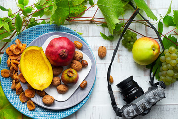 Photographing of autumn fruits
