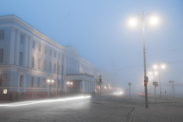 Helsinki city hall is cover in thick fog Finland