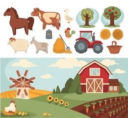 Farm household or farmer agriculture and cattle farming vector flat design