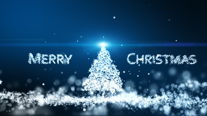 The particle merges into a Merry Christmas and tree with light ray beam.