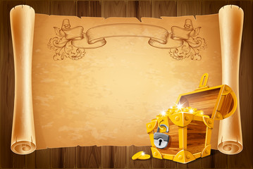Treasure chest and antique scroll