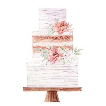 watercolor wedding cake illustration.