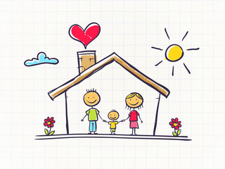 Happy family in the house scribble styled vector illustration
