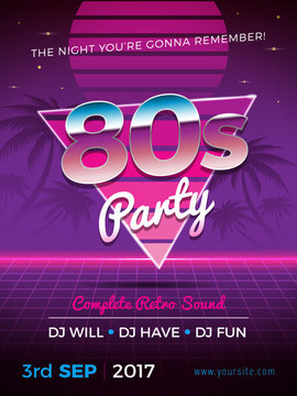 80s party flyer design in retro style