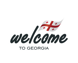 Welcome to Georgia flag sign logo icon