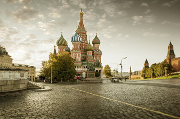 St. Basil's Cathedral on Red Square in Moscow in autumn