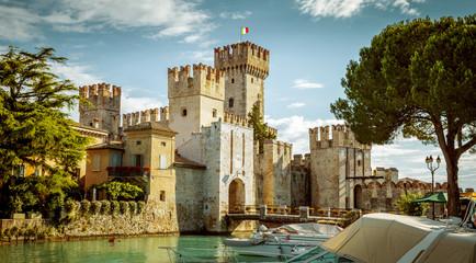 Wall Murals Castle Rocca Scaligera castle in Sirmione town near Garda Lake in Italy