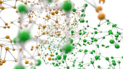random molecule models on white background.