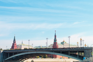 Moscow Kremlin over the bridge