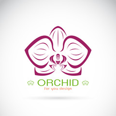 Vector of an Orchid logo on a white background. Flower.