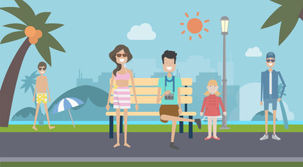 Tourism in nature park and island background vector illustration.People chilling public park on Holiday.