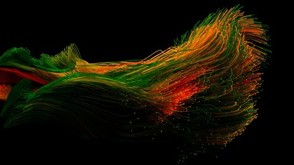 colorful fiber optic cables swarm. 3d illustration.