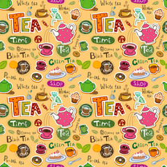 Seamless coffee and tea pattern