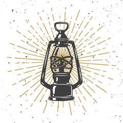 Illustration of vintage kerosene lamp.