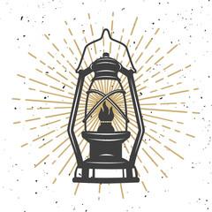 Illustration of vintage kerosene lamp. Design element for poster, flyer, banner. Vector illustration