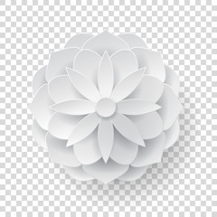Paper volume flower transparent background. Paper volume flower on a transparent background for designers and illustrators. A bulk plant in the form of vector illustration