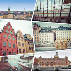 Collage of Stocholm Sweden images - travel background (my photos)