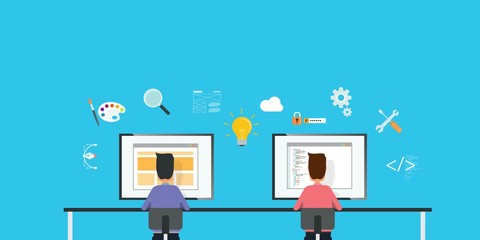 web designer and web developer working together on workplace and business team work concept