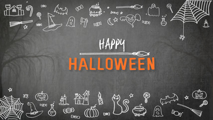 Halloween background for happy halloween holiday greeting festival celebration with chalk doodle on spooky dark black chalkboard with drawing of pumpkin, spider web, witch hat, trick or treat candies