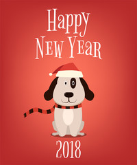 2018. Happy New Year. Cartoon dog on red background. Vector illustration