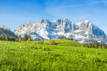 Austrian mountain farm in autumn, Kitzbühel, Tyrol, Austria